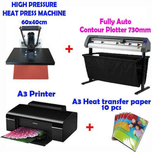 a26f2fe0 Auto Contour ARMS Plotter 730mm + HEAT PRESS 40x60 cm + A3 Printer + T Shirt  ...