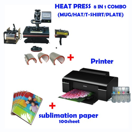 360bfc865bdad 8 in 1 HEAT PRESS MACHINE + Printer (Sublimation ink included) +  Sublimation paper ...